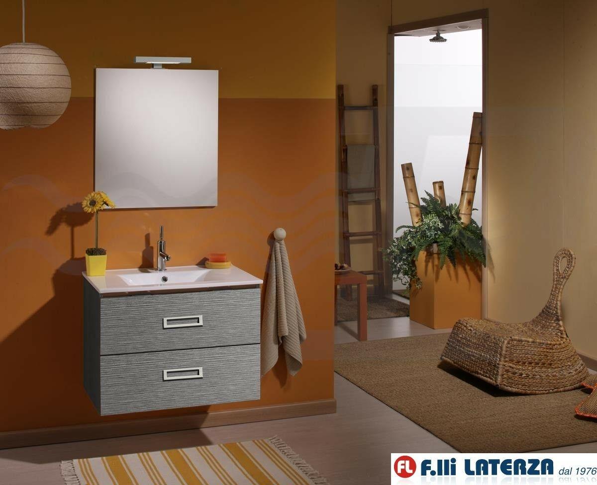 Evier Meuble Salle De Bain détails sur meuble salle de bain suspendu fantasy avec Évier et miroir cm  75 gris matrix